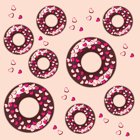 color vector seamless pattern with donuts food