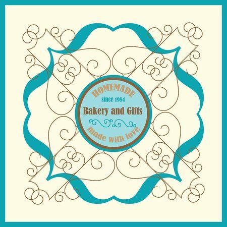 florish: Hand Made Bakery Logo with Florish Frame and Vingae Border