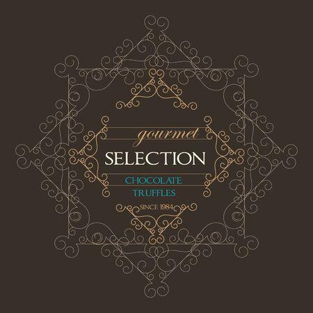 florish: Chocolate Retro Design wit florish border and vintage frame