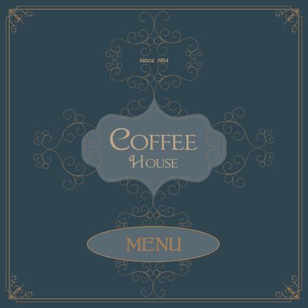 florish: Coffee Retro Design wit florish border and vintage frame