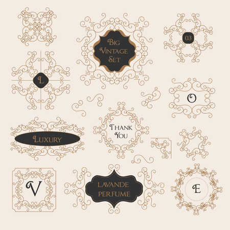 Vintage Decorations Design Elements Border, Frame, Corner Set Illustration