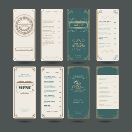 Set Of Vintage Menu Restaurant Floral Design Template