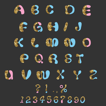 custom letters: Glitter Alphabet Custom Characters and Numbers Cute Font Comic Letters Illustration