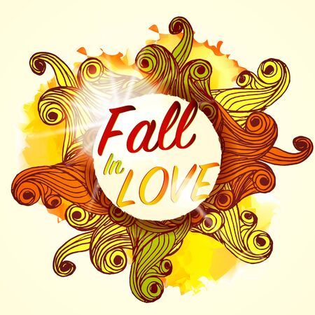 Fall in Love Lettering Seasonal Autumn Banner Postcard Design Background Illustration