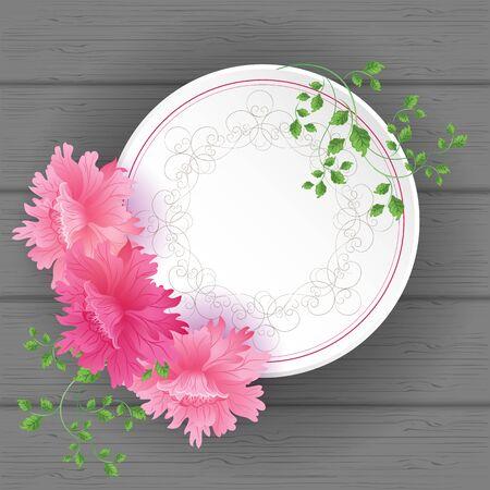 florish: Flowers Postcard with vintage tag and florish border frame Illustration