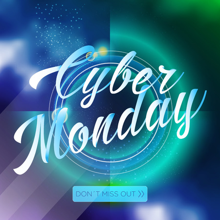 Cyber monday lettering sale on bright abstract background
