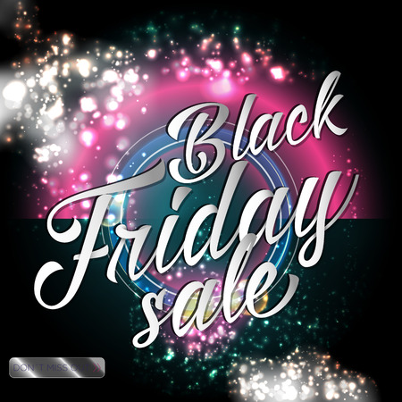 starfield: Black friday sale lettering background with shine bokeh and magic fairy dust