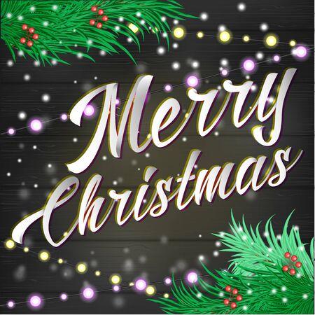 Merry Christmas belettering achtergrond met boom, lichten adn tonen Decoraties Stock Illustratie