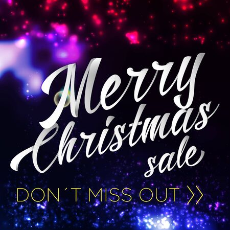 chrismas: Merry Chrismas Sale Lettering Bright With Sparkles Illustration