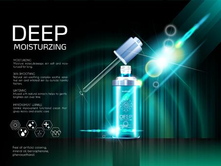 Skin serum toner template, glass droplet bottle