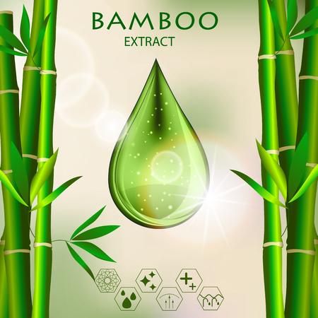 Bamboo Oil Serum Essence 3D Droplet con Branch, Skincare Icon, modello di annunci di cosmetici