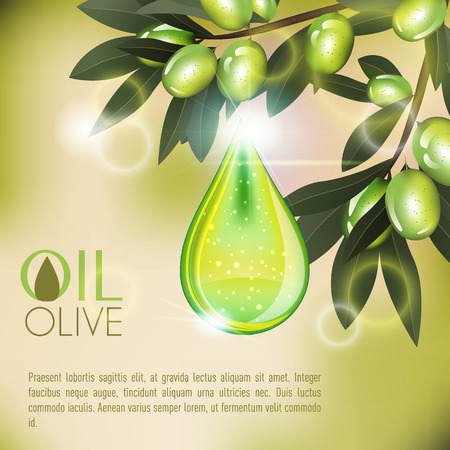 Olive Shining Oil Serum Essence Droplet 3D With Branch and Cosmetics Ads Template Illustration