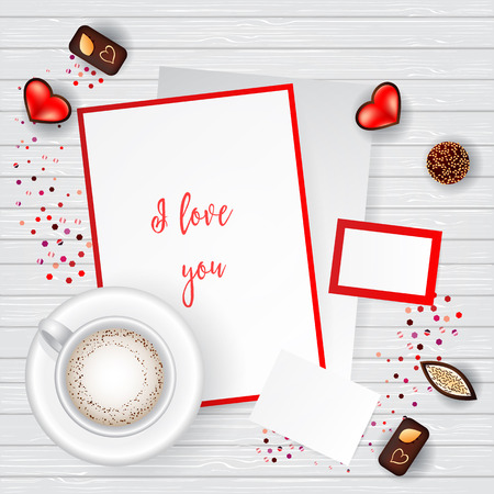 creator: Valentine Day Scene Creator Mock up Coffee Cup, confetti heart, chocolate candy, post cards