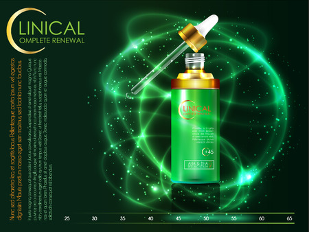 Skin serum toner template, glass droplet bottle 3D illustration Illustration
