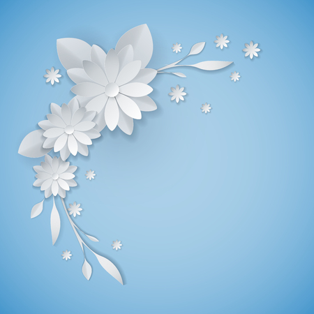 white paper flowers floral background