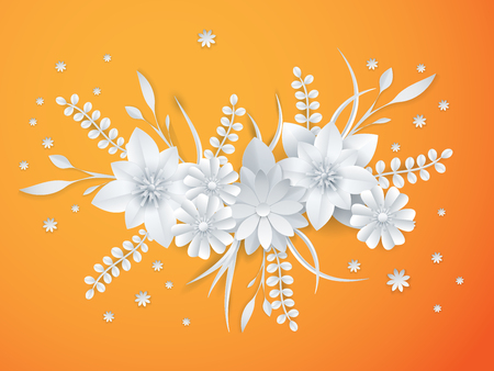 White paper flowers floral background greeting card template. Illustration