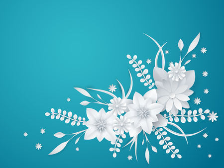 white paper flowers floral background greeting card template