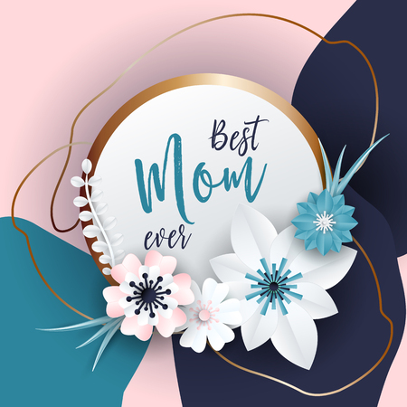 elegant woman: Happy Mothers Day Lettering With Paper Art Flowers Background
