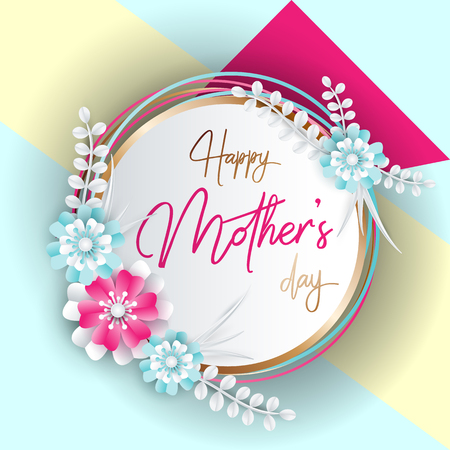 Happy Mothers Day Lettering With Paper Art Flowers Background