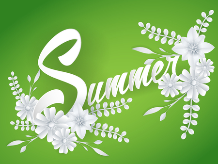 summer lettering with paper art flowers Stock Photo