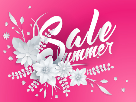 summer sale lettering with paper art flowers Stock Photo
