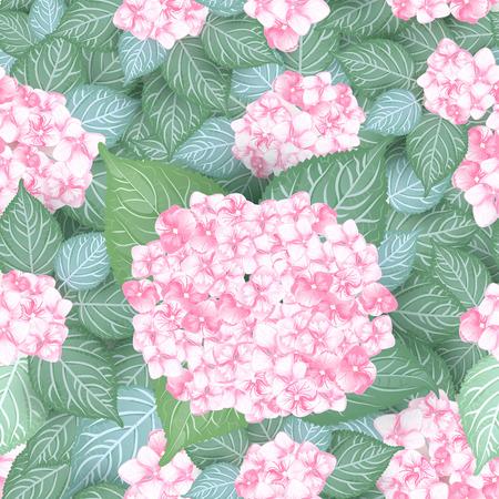 seamless vintage pink hydrangea flower pattern design