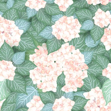 Seamless pink hydrangea flower pattern floral background Illustration