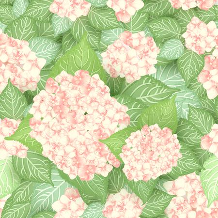 Seamless hydrangea flower pattern background.
