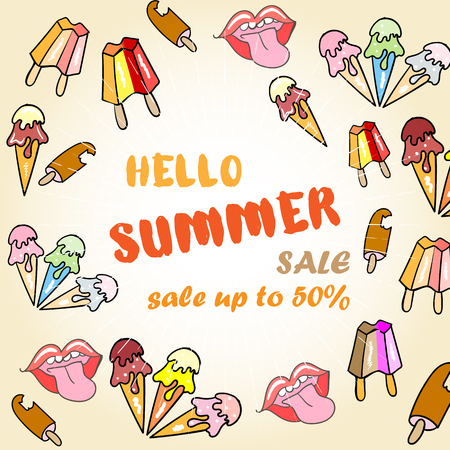 Hello Summer Sale Poster with ice cream
