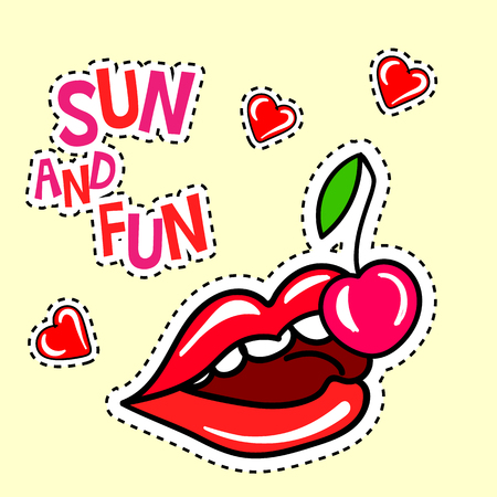 poster with cherry, lips and hearts stickers