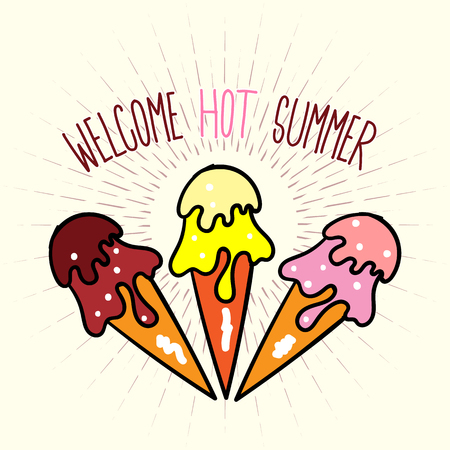 Welcome Hot Summer poster with ice cream Illustration