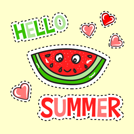 Hello Summer poster with funny watermelon