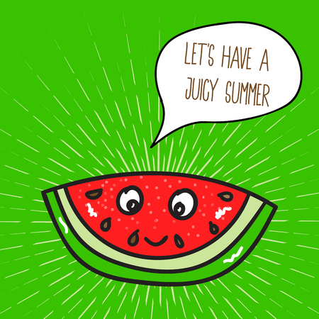Summer poster with watermelon. Illustration