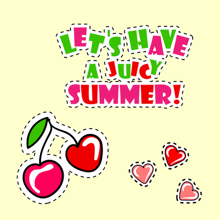 A retro summer poster with cherry. Illustration