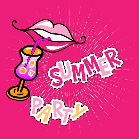 summer party poster with lips