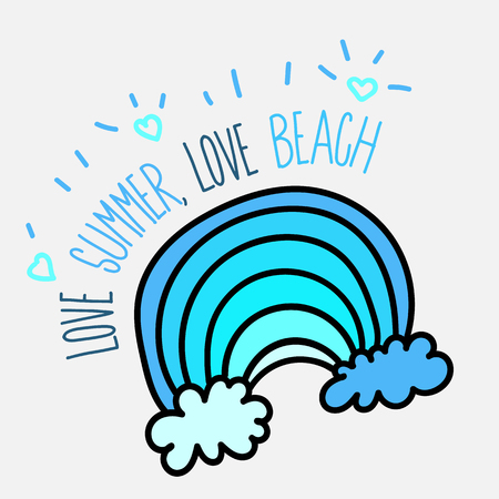 Summer beach poster with blue wave.