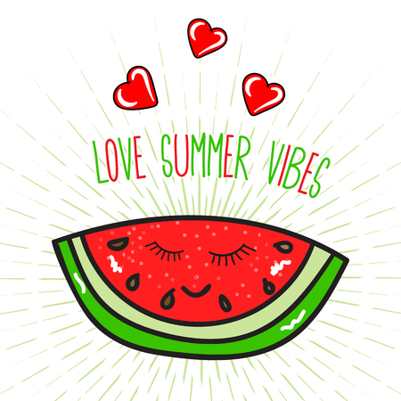 Love summer vibes lettering poster with watermelon Illustration