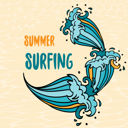 Summer Surfing lettering with cartoon waves Stock Photo