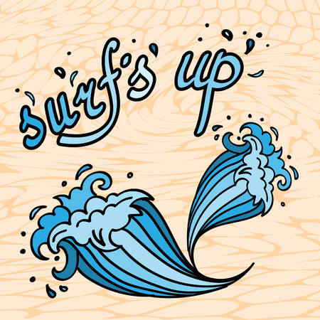 Surfs Up lettering with cartoon waves