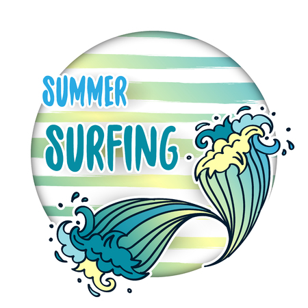Summer Surfing lettering with cartoon waves Illustration