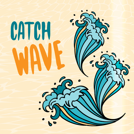 Catch Wave lettering with cartoon comic waves