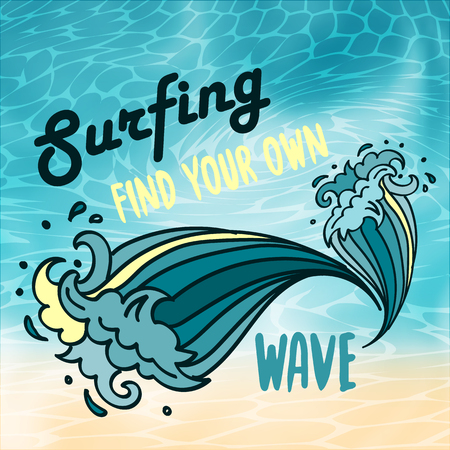 Surfing find yout own wave lettering with cartoon waves