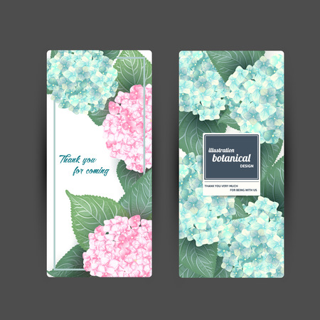 Set of Vector summer flower banners with hydrangea Illustration