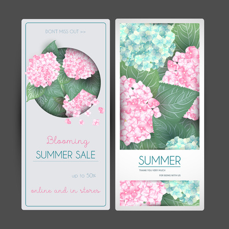 set of Vector summer flower banners with hydrangea