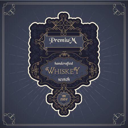 vintage western whiskey label old package design Illustration
