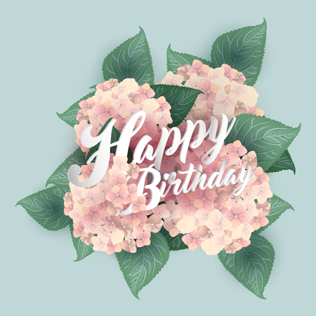 Hydrangea with Happy Birthday lettering. Illustration