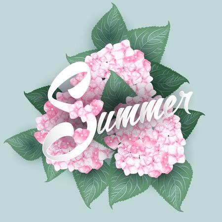 Hydrangea with Summer lettering vector illustration.