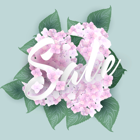 Hydrangea with summer sale lettering Illustration