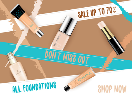 skin tones: Cosmetic product foundation make up with bright backgrounds Illustration