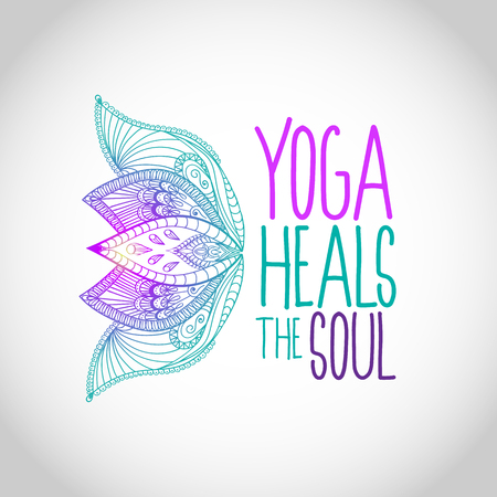 Yoga heals the soul lettering with flowers